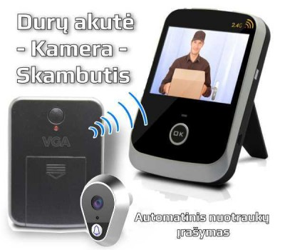 Kamera - durų skambutis su monitoriu